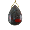 Natural Bloodstone Gemstone - Pear Pendant 29x41mm - Pak of 1