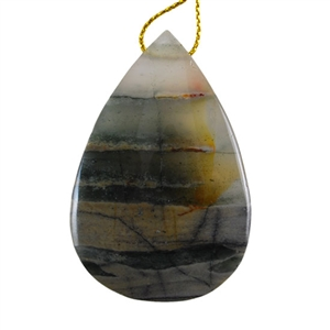 Natural Bloodstone Gemstone - Pear Pendant 34mm x 51mm