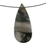 Natural Bloodstone Gemstone - Pear Pendant 29mm x 63mm