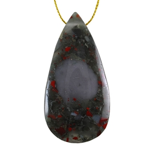 Natural Bloodstone Gemstone - Pear Pendant 31mm x 62mm
