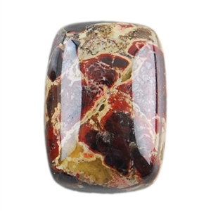 Natural Brecciated Jasper Gemstone - Cabochon Rectangle 10x14mm Pkg - 1