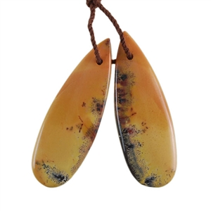 Natural Yellow Feather Jasper Gemstone - Pear Pendant 12mm x 34mm - Matched Pair