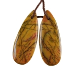 Natural Yellow Feather Jasper Gemstone - Pear Pendant 12mm x 31mm - Matched Pair