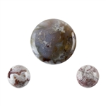 Crazy Lace Agate Gemstone 3 piece set - Round Cabochon 20mm & 2 - Round 10mm