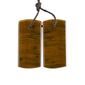 Natural Yellow Tiger Eye Gemstone - Rectangle Pendant 13x28mm - 1 Pair