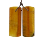 Natural Yellow Tiger Eye Gemstone - Rectangle Pendant 13x32mm - 1 Pair