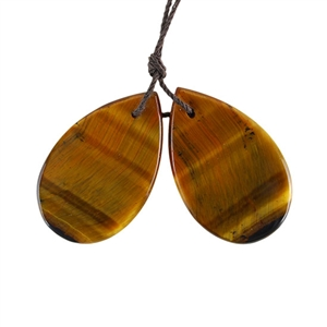 Natural Yellow Tiger Eye Gemstone - Pear Pendant 18x29mm - 1 Pair