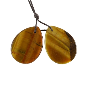 Natural Yellow Tiger Eye Gemstone - Pear Pendant 20x27mm - 1 Pair