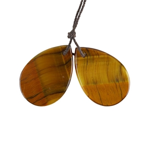 Natural Yellow Tiger Eye Gemstone - Pear Pendant 20x29mm - 1 Pair