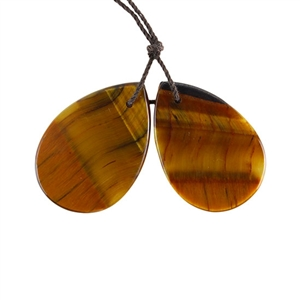 Natural Yellow Tiger Eye Gemstone - Pear Pendant 20x30mm - 1 Pair