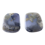 Amethyst Sage Chalcedony Gemstone - Freeform Pendants 22mm x 24mm