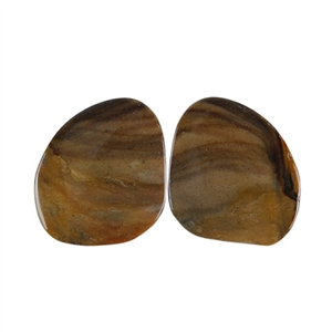 Royal Sahara Jasper Gemstone - Freeform Cabochon Pair 15x16mm - 1 Pair