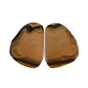 Royal Sahara Jasper Gemstone - Freeform Cabochon Pair 13x17mm - 1 Pair