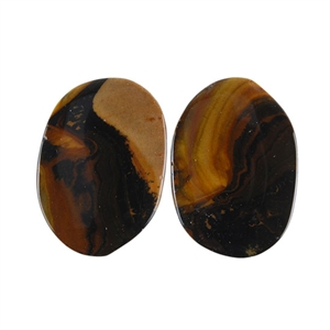 Royal Sahara Jasper Gemstone - Freeform Cabochon Pair 14x19mm - 1 Pair