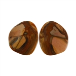 Royal Sahara Jasper Gemstone - Freeform Cabochon Pair 15x17mm - 1 Pair