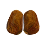 Royal Sahara Jasper Gemstone - Freeform Cabochon Pair 13x20mm - 1 Pair