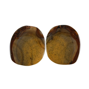 Royal Sahara Jasper Gemstone - Freeform Cabochon Pair 14x16mm - 1 Pair