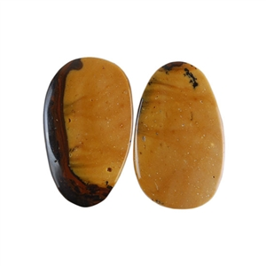 Royal Sahara Jasper Gemstone - Freeform Cabochon Pair 10x17mm - 1 Pair