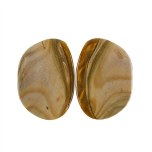 Royal Sahara Jasper Gemstone - Freeform Cabochon Pair 15x21mm - 1 Pair