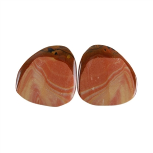 Royal Sahara Jasper Gemstone - Freeform Cabochon Pair 19x19mm - 1 Pair