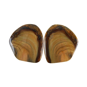 Royal Sahara Jasper Gemstone - Freeform Cabochon Pair 22x24mm - 1 Pair