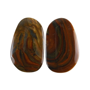 Royal Sahara Jasper Gemstone - Freeform Cabochon Pair 12x20mm - 1 Pair
