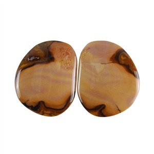 Royal Sahara Jasper Gemstone - Freeform Cabochon Pair 20x24mm - 1 Pair