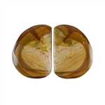 Royal Sahara Jasper Gemstone - Freeform Cabochon Pair 18x25mm - 1 Pair