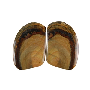 Royal Sahara Jasper Gemstone - Freeform Cabochon Pair 16x22mm - 1 Pair