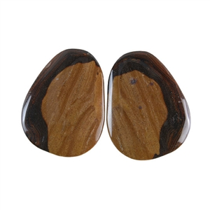 Royal Sahara Jasper Gemstone - Freeform Cabochon Pair 21x27mm - 1 Pair