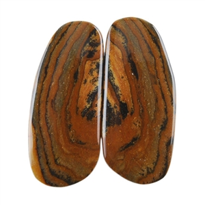 Royal Sahara Jasper Gemstone - Freeform Cabochon Pair 11x26mm - 1 Pair