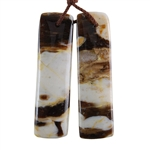 Natural Peanut Wood Gemstone - Pendant Rectangle 10mm x 38mm - Matched Pair