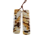 Natural Peanut Wood Gemstone - Pendant Rectangle 12x40mm - Matched Pair
