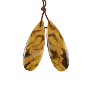 Natural Peanut Wood Gemstone - Pendant Pear 12x34mm - Matched Pair