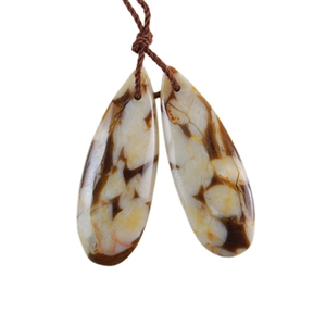 Natural Peanut Wood Gemstone - Pendant Pear 11x31mm - Matched Pair