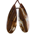 Natural Peanut Wood Gemstone - Pendant Pear 12mm x 34mm - Matched Pair