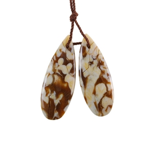 Natural Peanut Wood Gemstone - Pendant Pear 12x31mm - Matched Pair