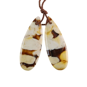 Natural Peanut Wood Gemstone - Pendant Pear 11x32mm - Matched Pair