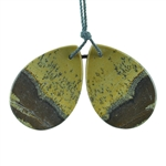 Crazy Horse Jasper Gemstone - Pear Pendants 21mm x 31mm - 1 Pair