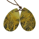 Crazy Horse Jasper Gemstone - Pear Pendants 19mm x 31mm - 1 Pair