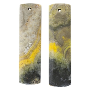 Bumblebee Jasper Gemstone - Rectangle Pendants 11mm x 41mm