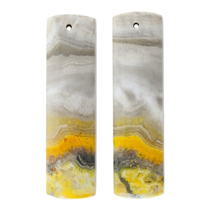 Bumblebee Jasper Gemstone - Rectangle Pendants 10mm x 40mm