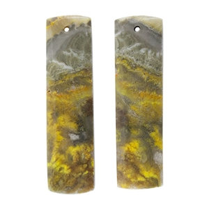 Bumblebee Jasper Gemstone - Rectangle Pendants 11mm x 40mm