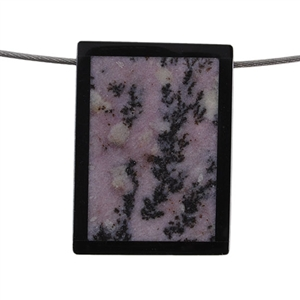Inlay Black Onyx and Fossil Coral Gemstone - Rectangle 29x39mm Pendant - Pak of 1