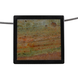Inlay Black Onyx and Oregon Opal Gemstone - Rectangle 33mm x 31mm Pendant Pkg - 1