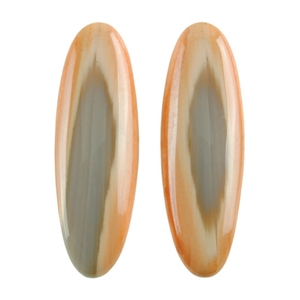 Natural Royal Imperial Jasper Gemstone - Cabochon Oval 9mm x 28mm Matched Pair