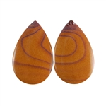Sonora Dendritic Rhyolite Jasper Gemstone - Pear Pendant Pair 14x22mm - Pak of 1