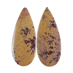 Sonora Dendritic Rhyolite Jasper Gemstone - Pear Pendant Pair 12x30mm - Pak of 1