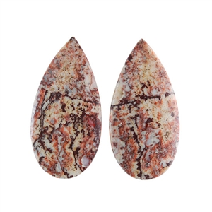 Sonora Dendritic Rhyolite Jasper Gemstone - Pear Pendant Pair 15x30mm - Pak of 1