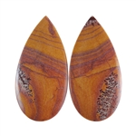 Sonora Dendritic Rhyolite Jasper Gemstone - Pear Pendant Pair 15x31mm - Pak of 1
